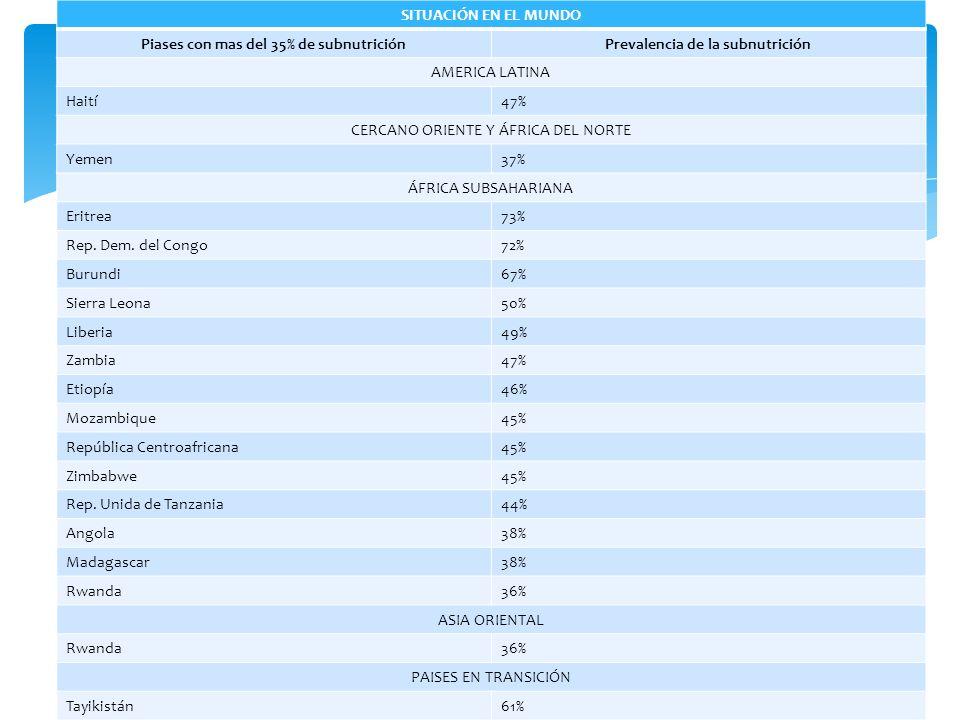 SITUACIÓN EN EL MUNDO Piases con mas del 35% de subnutriciónPrevalencia de la subnutrición AMERICA LATINA Haití47% CERCANO ORIENTE Y ÁFRICA DEL NORTE