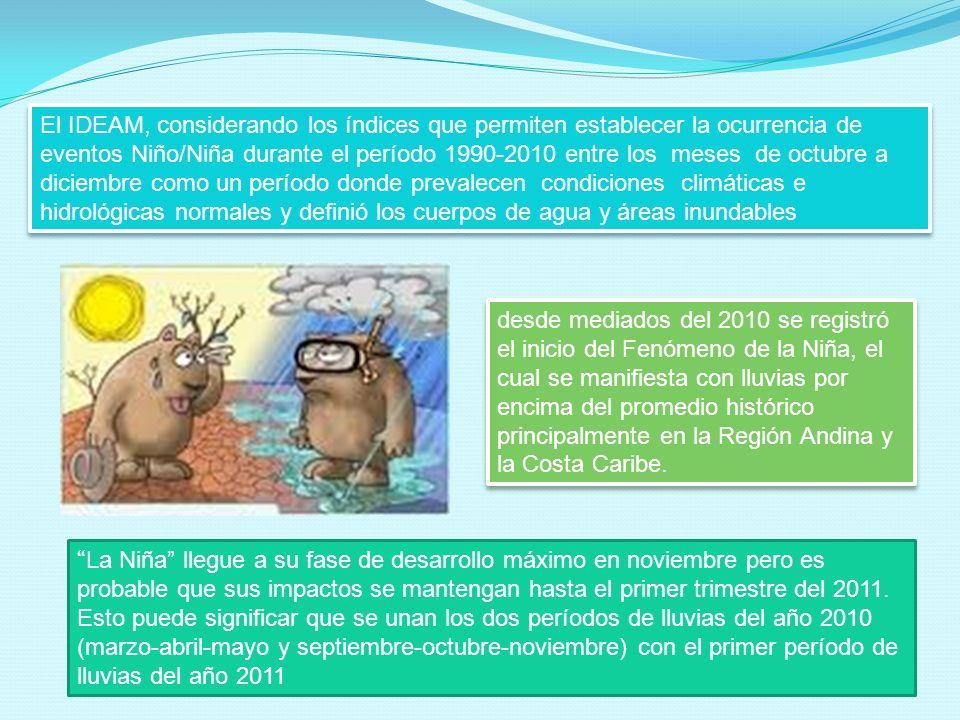 El IDEAM, considerando los índices que permiten establecer la ocurrencia de eventos Niño/Niña durante el período 1990-2010 entre los meses de octubre