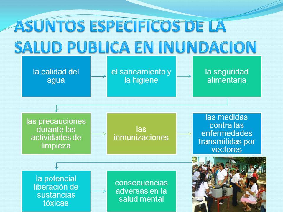 la calidad del agua el saneamiento y la higiene la seguridad alimentaria las precauciones durante las actividades de limpieza las inmunizaciones las m