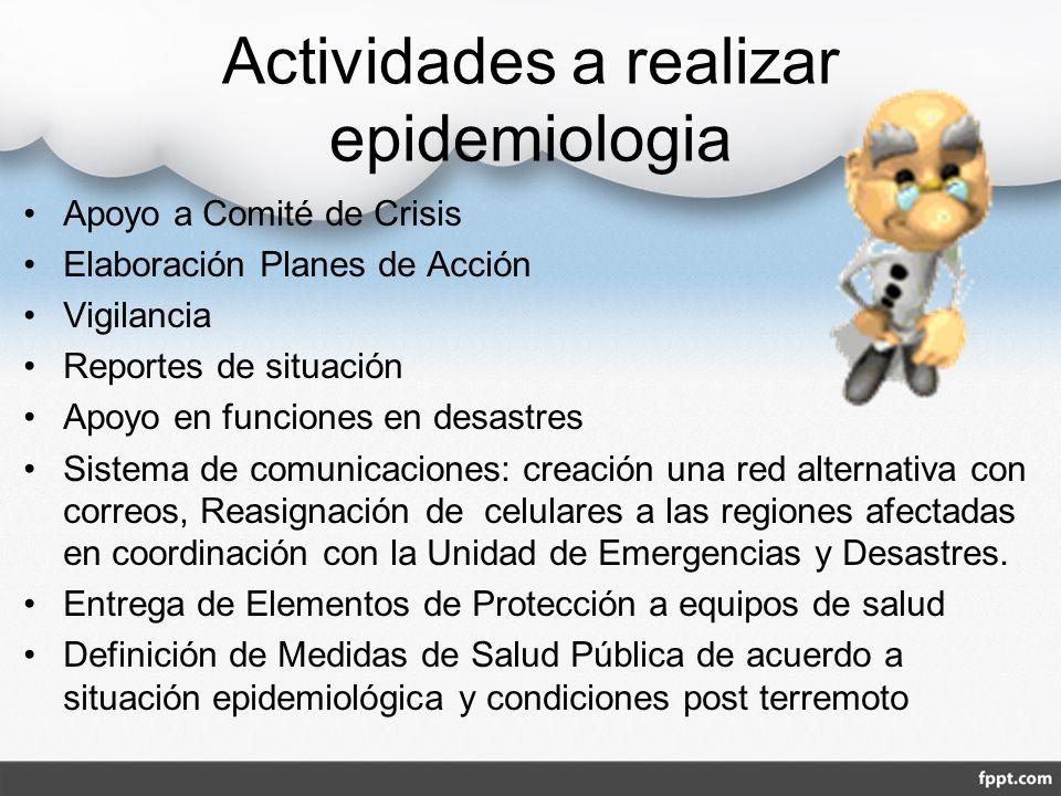 Actividades a realizar epidemiologia Apoyo a Comité de Crisis Elaboración Planes de Acción Vigilancia Reportes de situación Apoyo en funciones en desa