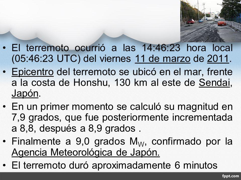 El terremoto ocurrió a las 14:46:23 hora local (05:46:23 UTC) del viernes 11 de marzo de 2011. Epicentro del terremoto se ubicó en el mar, frente a la
