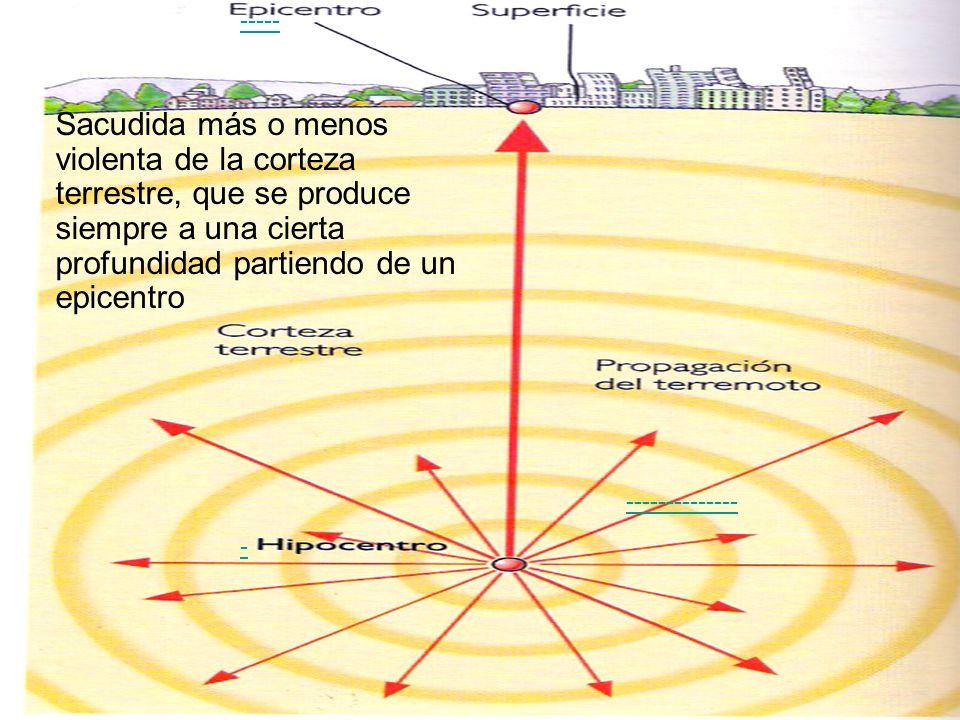 Sacudida más o menos violenta de la corteza terrestre, que se produce siempre a una cierta profundidad partiendo de un epicentro - ----- -------------