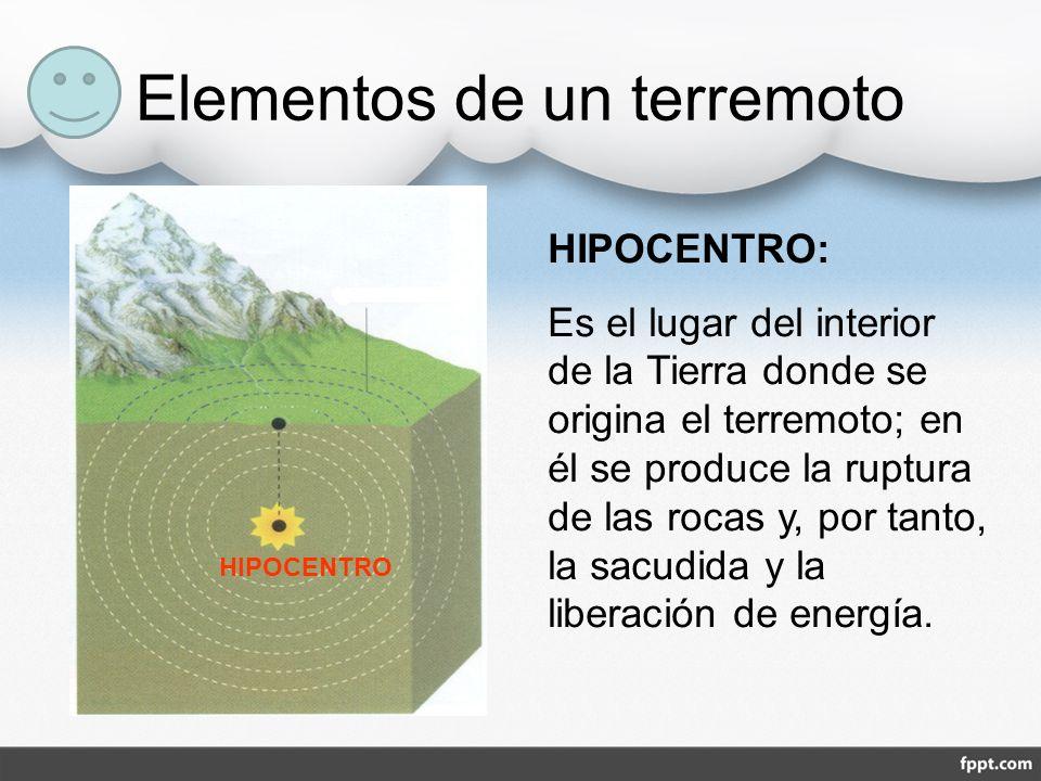 Elementos de un terremoto HIPOCENTRO HIPOCENTRO: Es el lugar del interior de la Tierra donde se origina el terremoto; en él se produce la ruptura de l