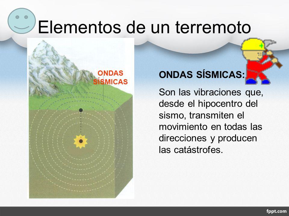 Elementos de un terremoto ONDAS SÍSMICAS ONDAS SÍSMICAS: Son las vibraciones que, desde el hipocentro del sismo, transmiten el movimiento en todas las