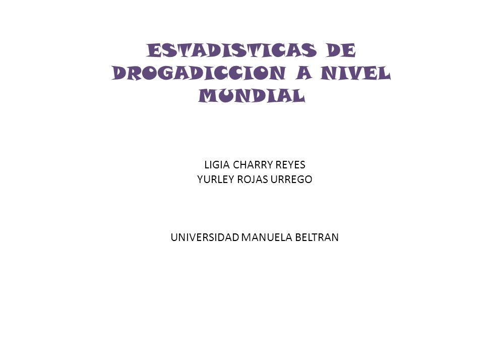 ESTADISTICAS DE DROGADICCION A NIVEL MUNDIAL LIGIA CHARRY REYES YURLEY ROJAS URREGO UNIVERSIDAD MANUELA BELTRAN