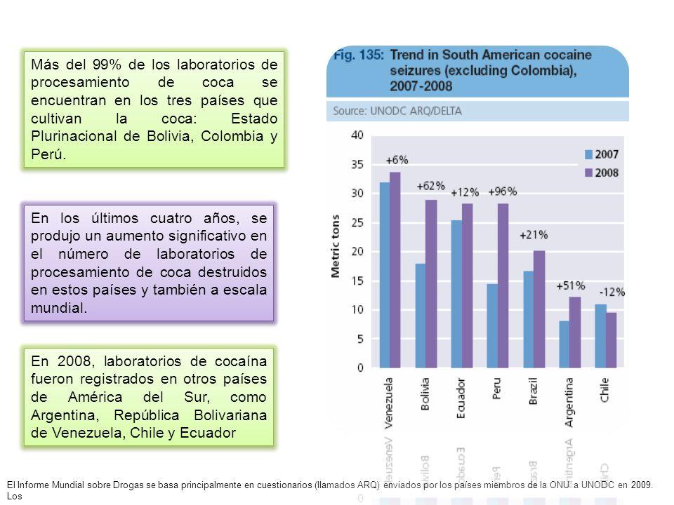 Más del 99% de los laboratorios de procesamiento de coca se encuentran en los tres países que cultivan la coca: Estado Plurinacional de Bolivia, Colom