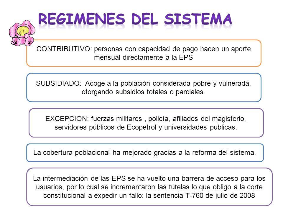 CONTRIBUTIVO: personas con capacidad de pago hacen un aporte mensual directamente a la EPS SUBSIDIADO: Acoge a la población considerada pobre y vulner