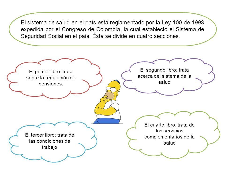 El sistema de salud en el país está reglamentado por la Ley 100 de 1993 expedida por el Congreso de Colombia, la cual estableció el Sistema de Segurid