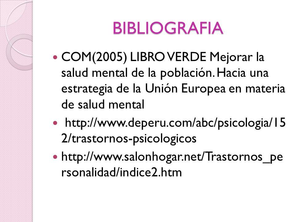 BIBLIOGRAFIA COM(2005) LIBRO VERDE Mejorar la salud mental de la población. Hacia una estrategia de la Unión Europea en materia de salud mental http:/