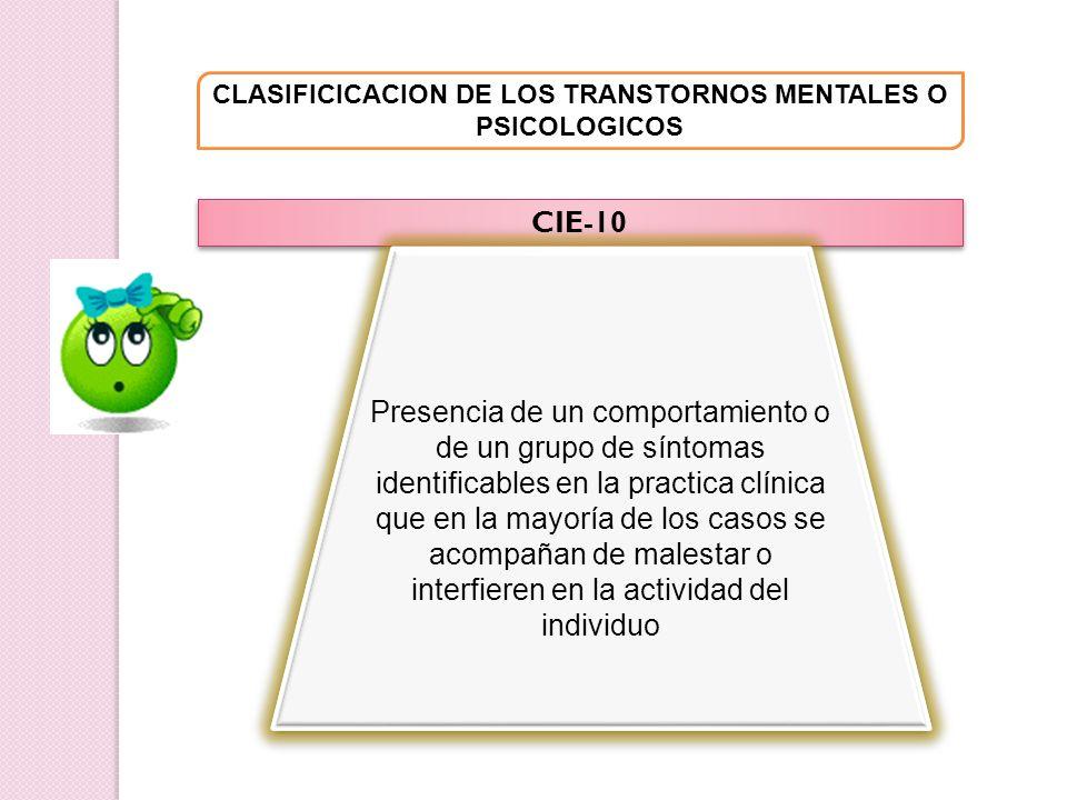 CLASIFICICACION DE LOS TRANSTORNOS MENTALES O PSICOLOGICOS CIE-10 Presencia de un comportamiento o de un grupo de síntomas identificables en la practi