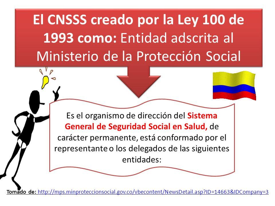 Es el organismo de dirección del Sistema General de Seguridad Social en Salud, de carácter permanente, está conformado por el representante o los dele