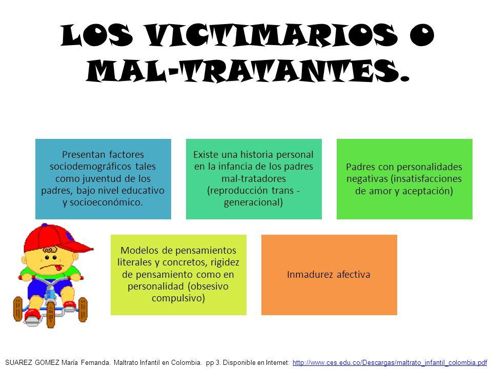LOS VICTIMARIOS O MAL-TRATANTES. Presentan factores sociodemográficos tales como juventud de los padres, bajo nivel educativo y socioeconómico. Existe