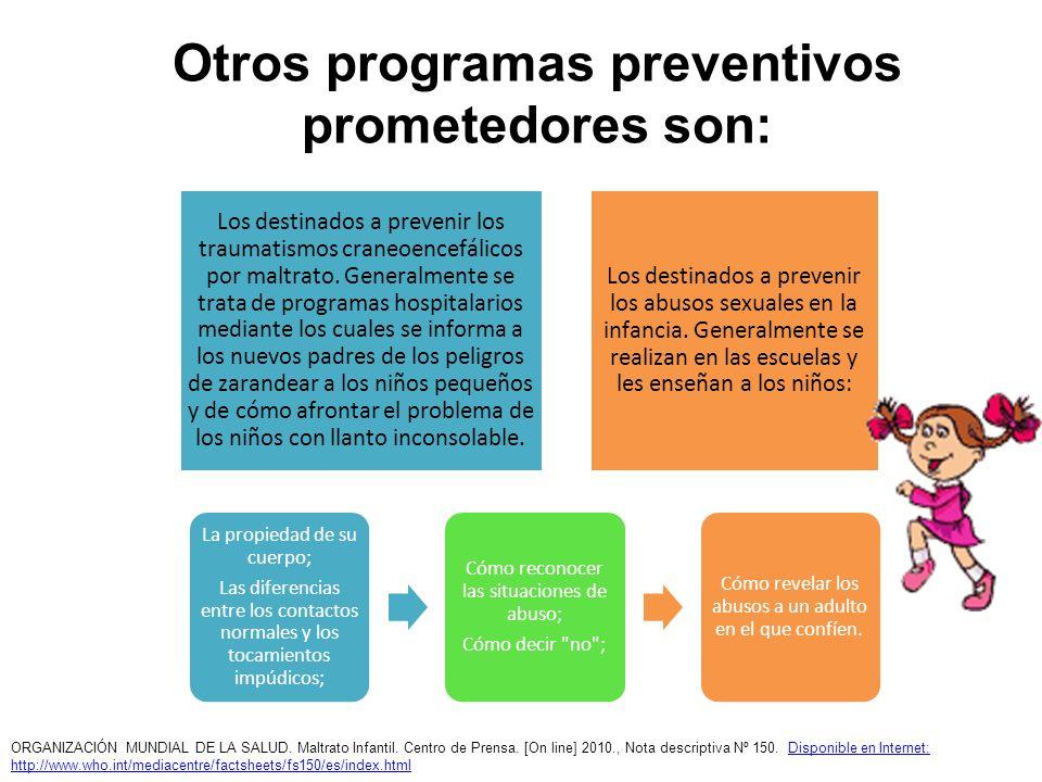 Otros programas preventivos prometedores son: Los destinados a prevenir los traumatismos craneoencefálicos por maltrato. Generalmente se trata de prog