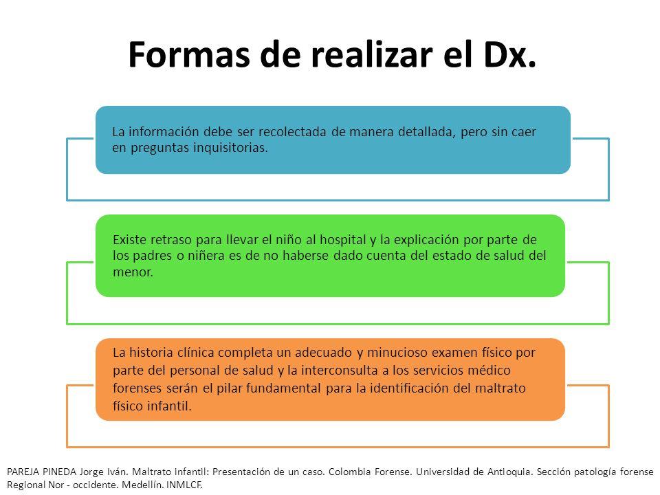 Formas de realizar el Dx. La información debe ser recolectada de manera detallada, pero sin caer en preguntas inquisitorias. Existe retraso para lleva