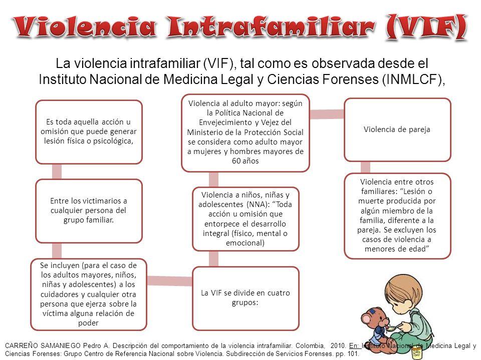 El Instituto Nacional de Medicina Legal y Ciencias Forenses registró, durante 2010, un total de 89.436 casos de violencia intrafamiliar.