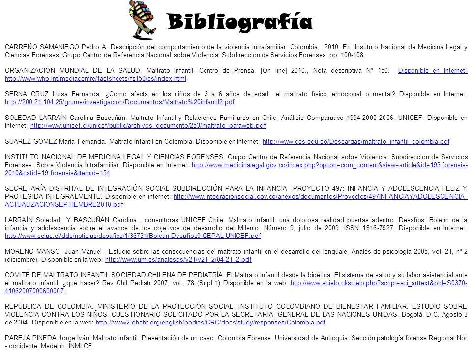 Bibliografía CARREÑO SAMANIEGO Pedro A. Descripción del comportamiento de la violencia intrafamiliar. Colombia, 2010. En: Instituto Nacional de Medici