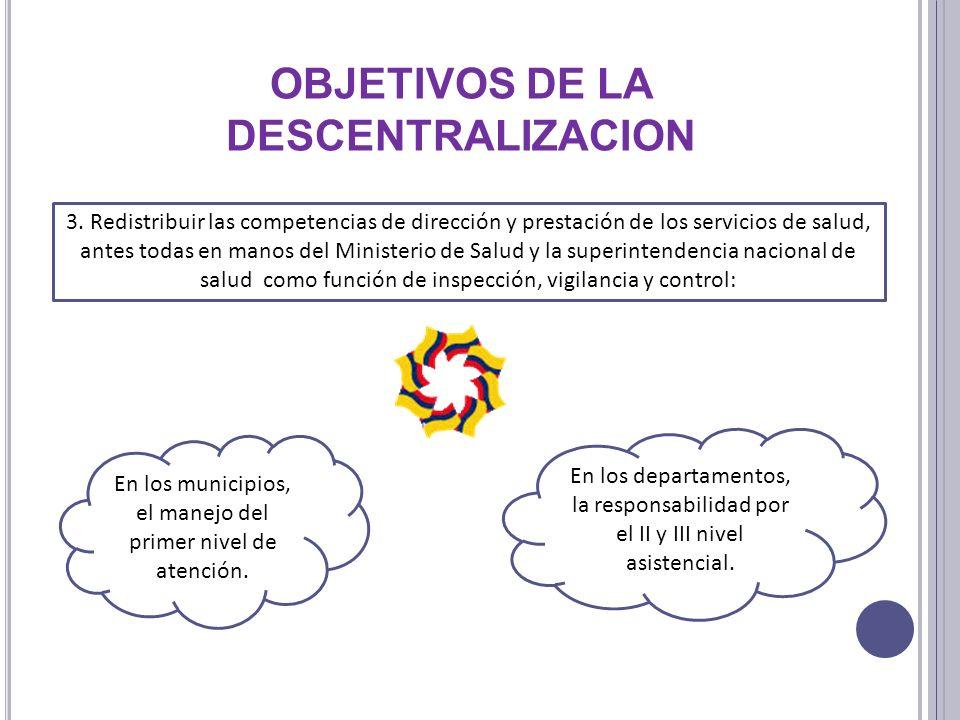 3. Redistribuir las competencias de dirección y prestación de los servicios de salud, antes todas en manos del Ministerio de Salud y la superintendenc