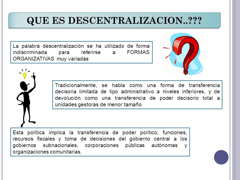 QUE ES DESCENTRALIZACION..??? La palabra descentralización se ha utilizado de forma indiscriminada para referirse a FORMAS ORGANIZATIVAS muy variadas