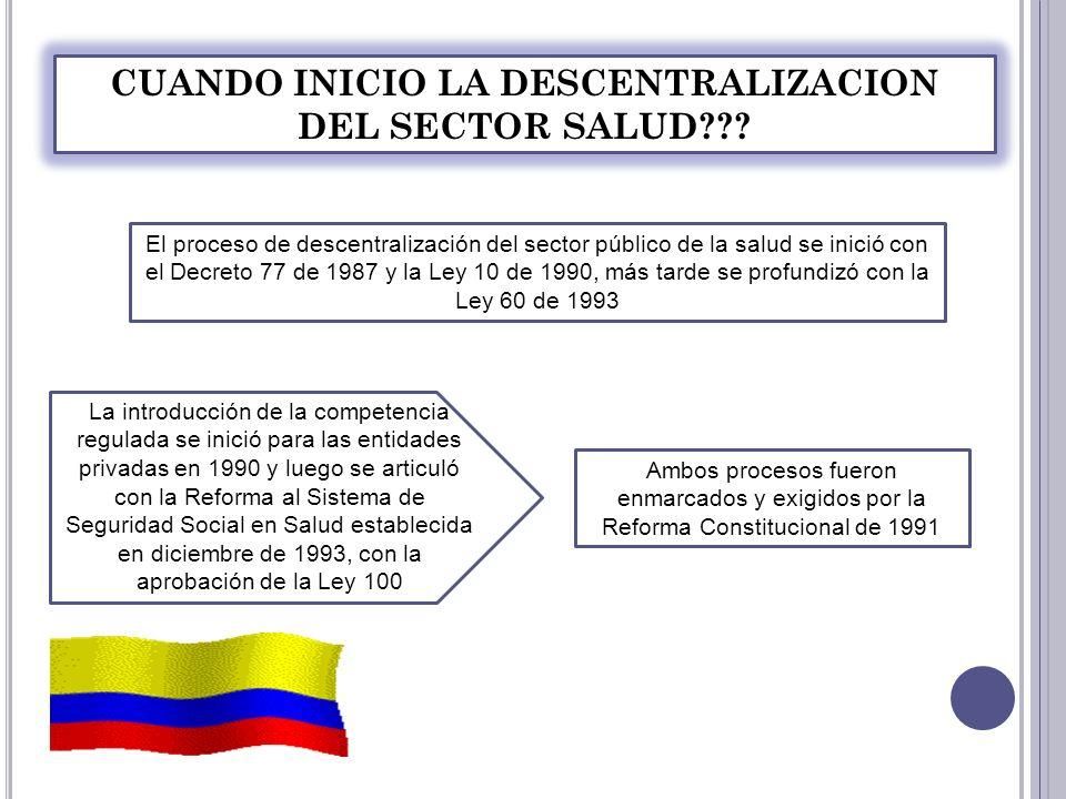 La reforma constitucional consagró el carácter de Colombia como país descentralizado, con: Los servicios de salud, Con la definición de servicios públicos, autorizó además la desmonopolización de los servicios públicos y sociales y la introducción de la competencia pública- privada.