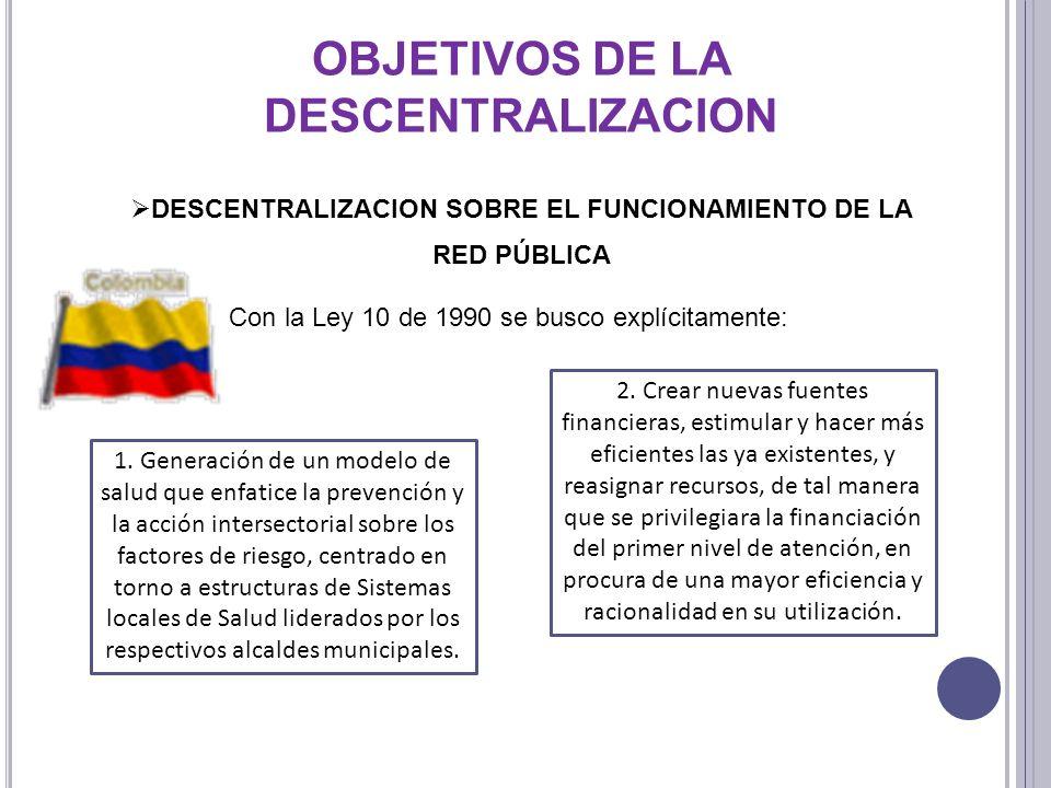 DESCENTRALIZACION SOBRE EL FUNCIONAMIENTO DE LA RED PÚBLICA Con la Ley 10 de 1990 se busco explícitamente: 1. Generación de un modelo de salud que enf