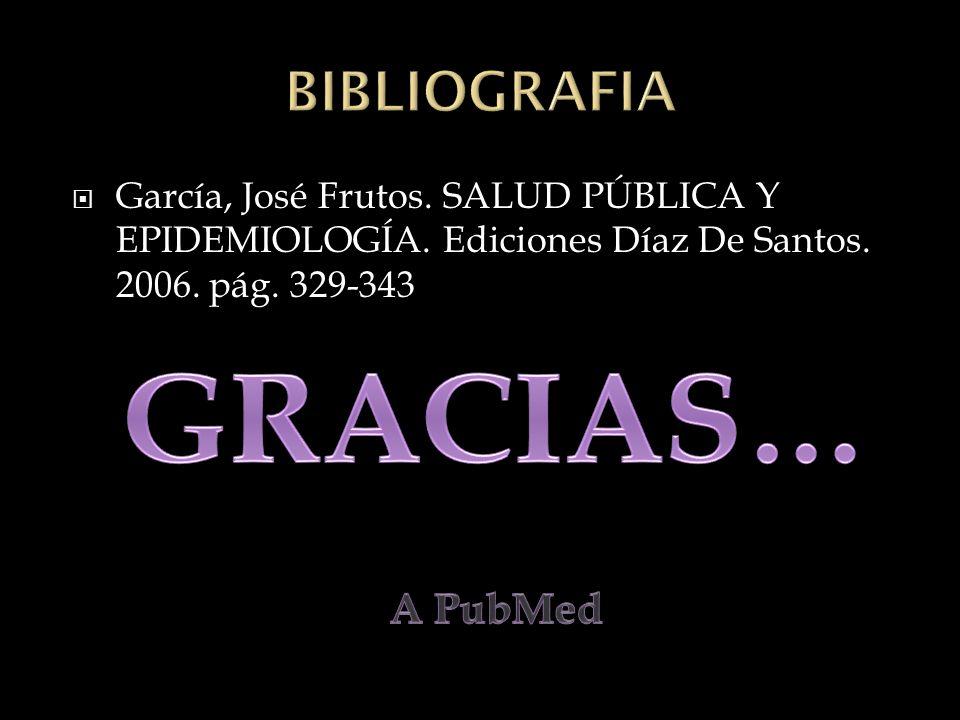 García, José Frutos. SALUD PÚBLICA Y EPIDEMIOLOGÍA. Ediciones Díaz De Santos. 2006. pág. 329-343