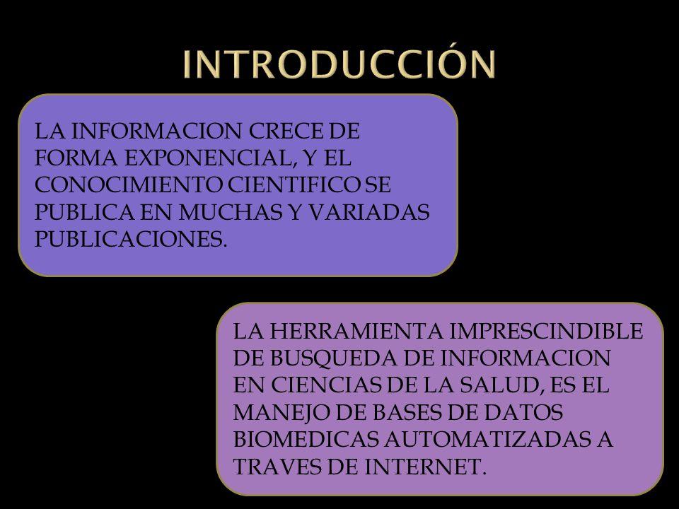 LA INFORMACION CRECE DE FORMA EXPONENCIAL, Y EL CONOCIMIENTO CIENTIFICO SE PUBLICA EN MUCHAS Y VARIADAS PUBLICACIONES.