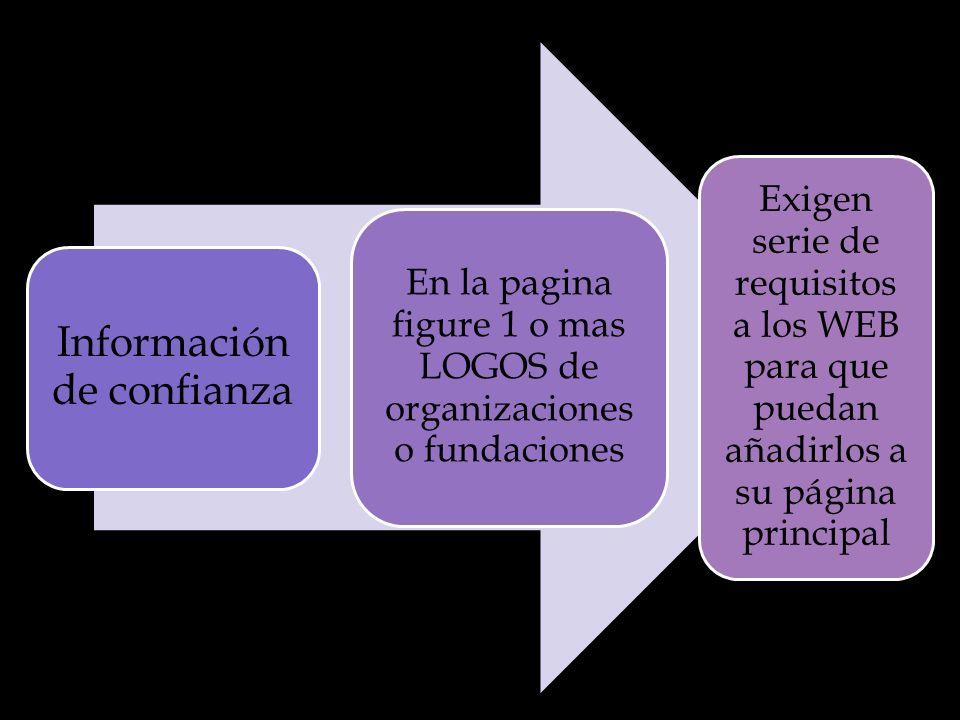 Información de confianza En la pagina figure 1 o mas LOGOS de organizaciones o fundaciones Exigen serie de requisitos a los WEB para que puedan añadirlos a su página principal