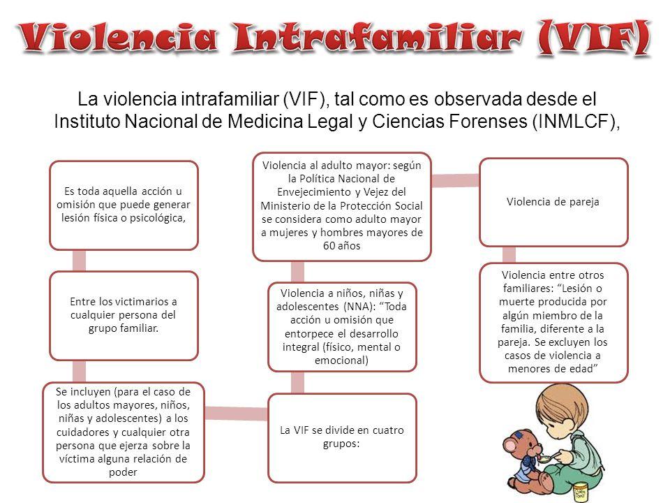 La violencia intrafamiliar (VIF), tal como es observada desde el Instituto Nacional de Medicina Legal y Ciencias Forenses (INMLCF), Es toda aquella ac