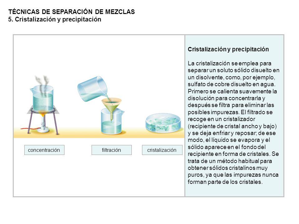 Cristalización y precipitación La cristalización se emplea para separar un soluto sólido disuelto en un disolvente, como, por ejemplo, sulfato de cobr