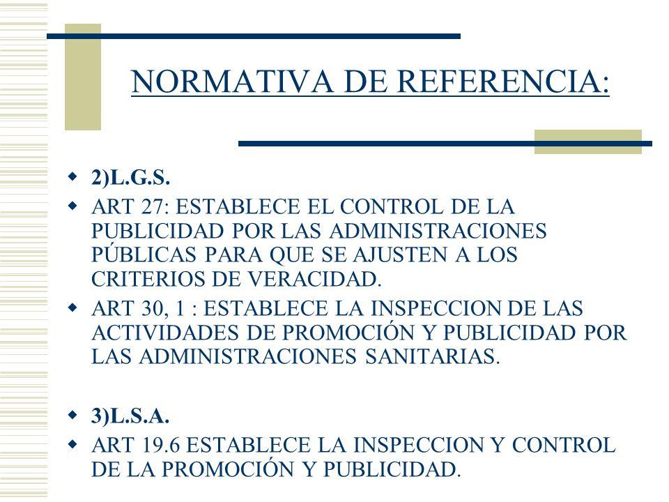 NORMATIVA DE REFERENCIA: 2)L.G.S. ART 27: ESTABLECE EL CONTROL DE LA PUBLICIDAD POR LAS ADMINISTRACIONES PÚBLICAS PARA QUE SE AJUSTEN A LOS CRITERIOS
