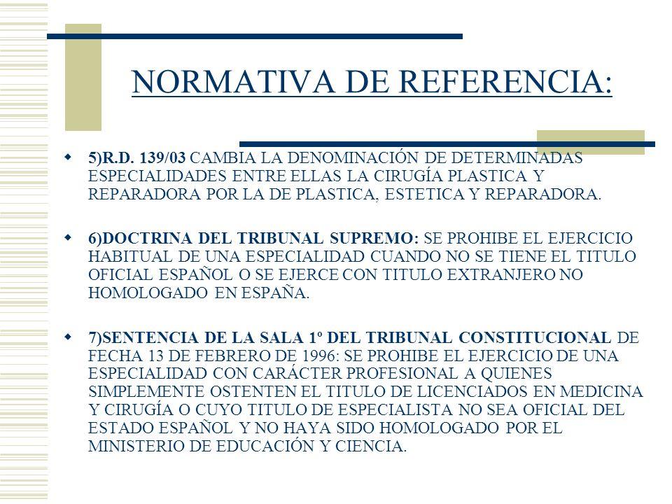 NORMATIVA DE REFERENCIA: 5)R.D. 139/03 CAMBIA LA DENOMINACIÓN DE DETERMINADAS ESPECIALIDADES ENTRE ELLAS LA CIRUGÍA PLASTICA Y REPARADORA POR LA DE PL