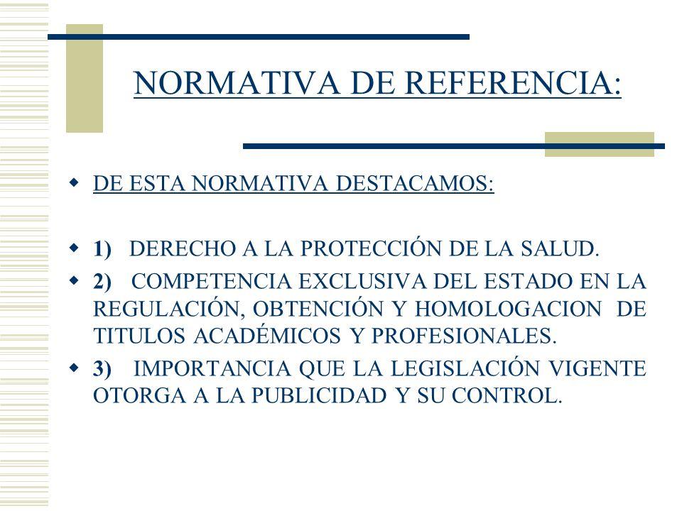 NORMATIVA DE REFERENCIA: DE ESTA NORMATIVA DESTACAMOS: 1) DERECHO A LA PROTECCIÓN DE LA SALUD. 2) COMPETENCIA EXCLUSIVA DEL ESTADO EN LA REGULACIÓN, O