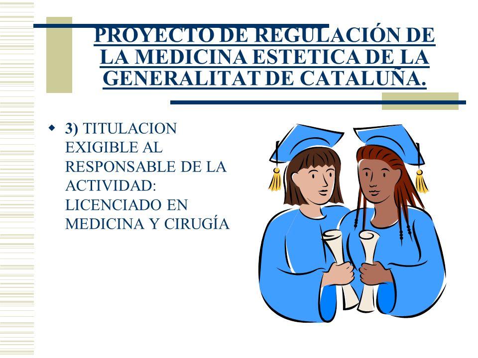 PROYECTO DE REGULACIÓN DE LA MEDICINA ESTETICA DE LA GENERALITAT DE CATALUÑA. 3) TITULACION EXIGIBLE AL RESPONSABLE DE LA ACTIVIDAD: LICENCIADO EN MED