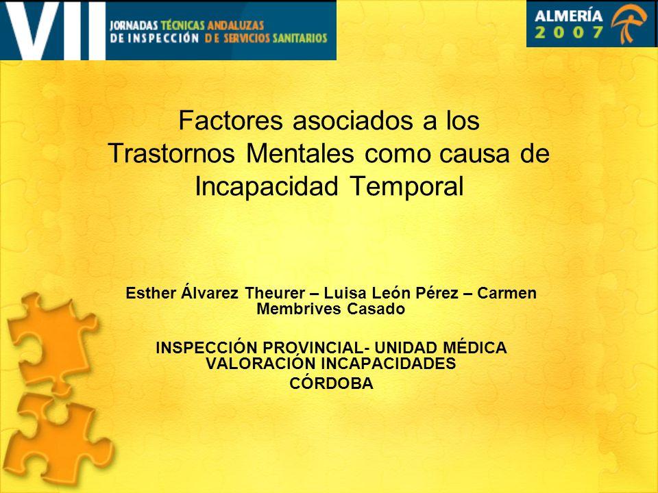 Factores asociados a los Trastornos Mentales como causa de Incapacidad Temporal Esther Álvarez Theurer – Luisa León Pérez – Carmen Membrives Casado IN