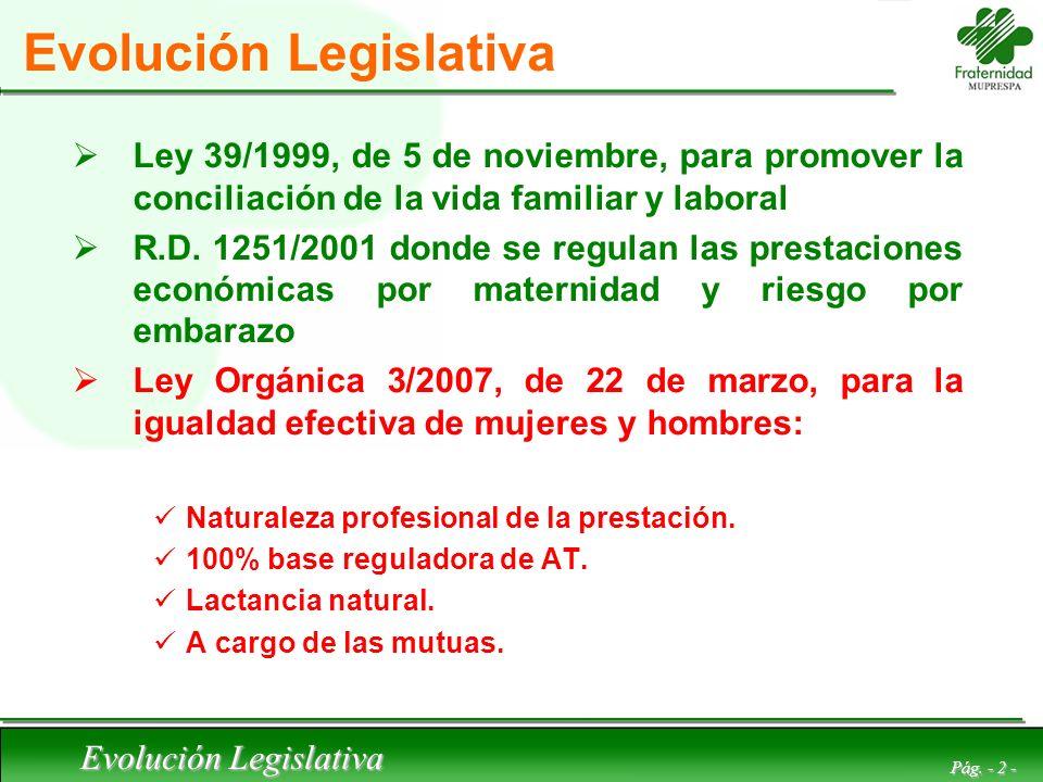 Evolución Legislativa Pág. - 2 - Evolución Legislativa Ley 39/1999, de 5 de noviembre, para promover la conciliación de la vida familiar y laboral R.D