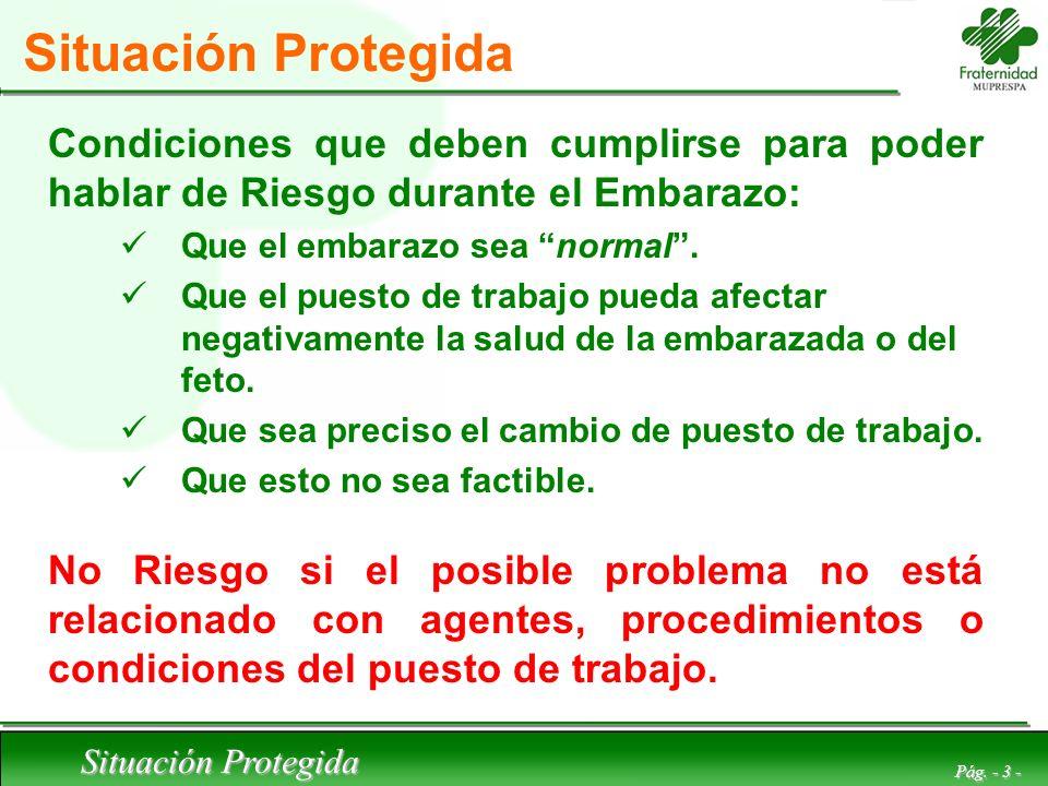 Situación Protegida Pág. - 3 - Situación Protegida Condiciones que deben cumplirse para poder hablar de Riesgo durante el Embarazo: Que el embarazo se