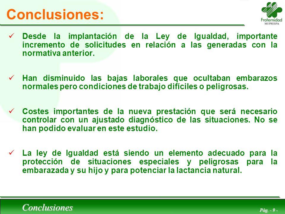 Conclusiones Pág. - 9 - Conclusiones: Desde la implantación de la Ley de Igualdad, importante incremento de solicitudes en relación a las generadas co