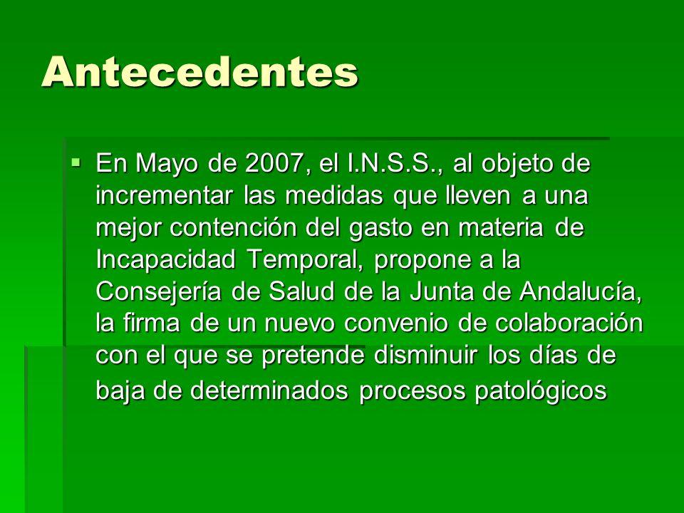 Antecedentes En Mayo de 2007, el I.N.S.S., al objeto de incrementar las medidas que lleven a una mejor contención del gasto en materia de Incapacidad Temporal, propone a la Consejería de Salud de la Junta de Andalucía, la firma de un nuevo convenio de colaboración con el que se pretende disminuir los días de baja de determinados procesos patológicos En Mayo de 2007, el I.N.S.S., al objeto de incrementar las medidas que lleven a una mejor contención del gasto en materia de Incapacidad Temporal, propone a la Consejería de Salud de la Junta de Andalucía, la firma de un nuevo convenio de colaboración con el que se pretende disminuir los días de baja de determinados procesos patológicos