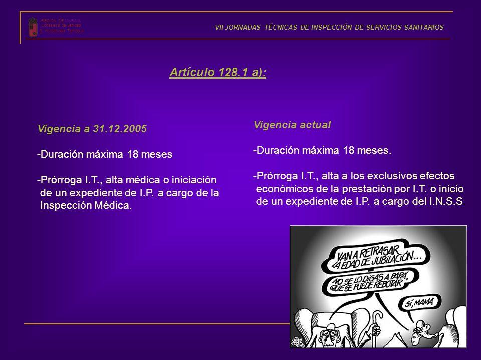 REGIÓN DE MURCIA Consejería de Sanidad S. Incapacidad Temporal VII JORNADAS TÉCNICAS DE INSPECCIÓN DE SERVICIOS SANITARIOS Vigencia a 31.12.2005 -Dura