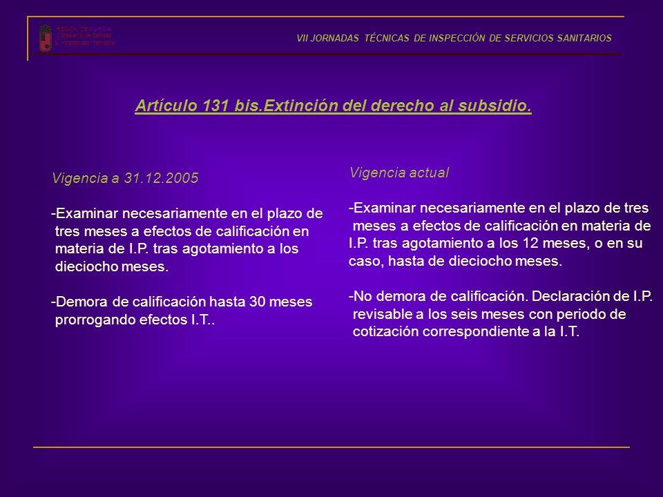 REGIÓN DE MURCIA Consejería de Sanidad S. Incapacidad Temporal VII JORNADAS TÉCNICAS DE INSPECCIÓN DE SERVICIOS SANITARIOS Artículo 131 bis.Extinción