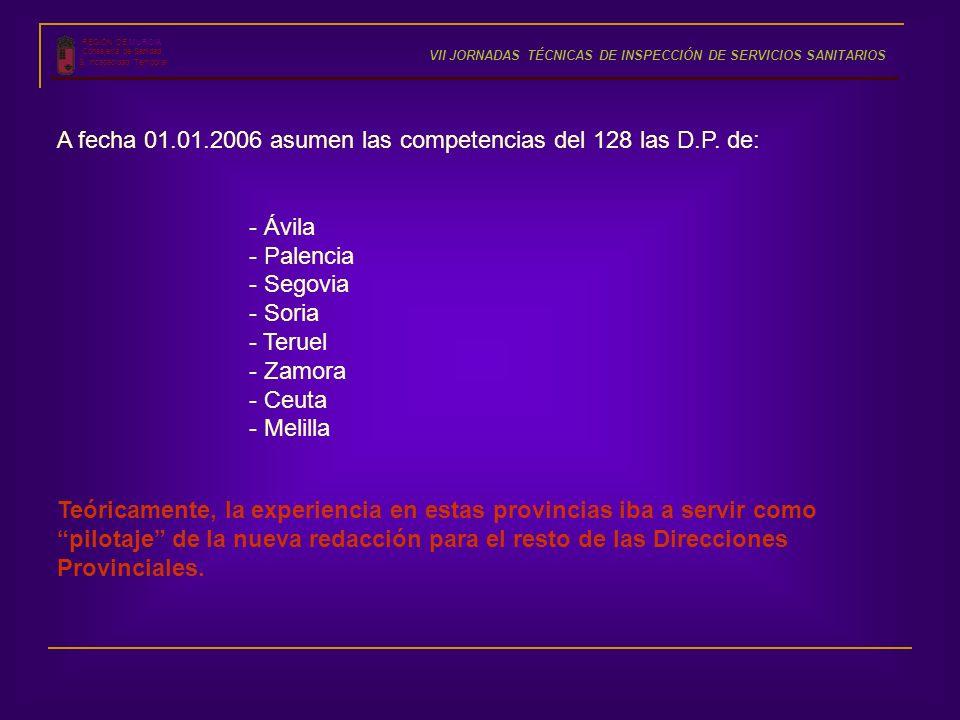 REGIÓN DE MURCIA Consejería de Sanidad S. Incapacidad Temporal VII JORNADAS TÉCNICAS DE INSPECCIÓN DE SERVICIOS SANITARIOS A fecha 01.01.2006 asumen l