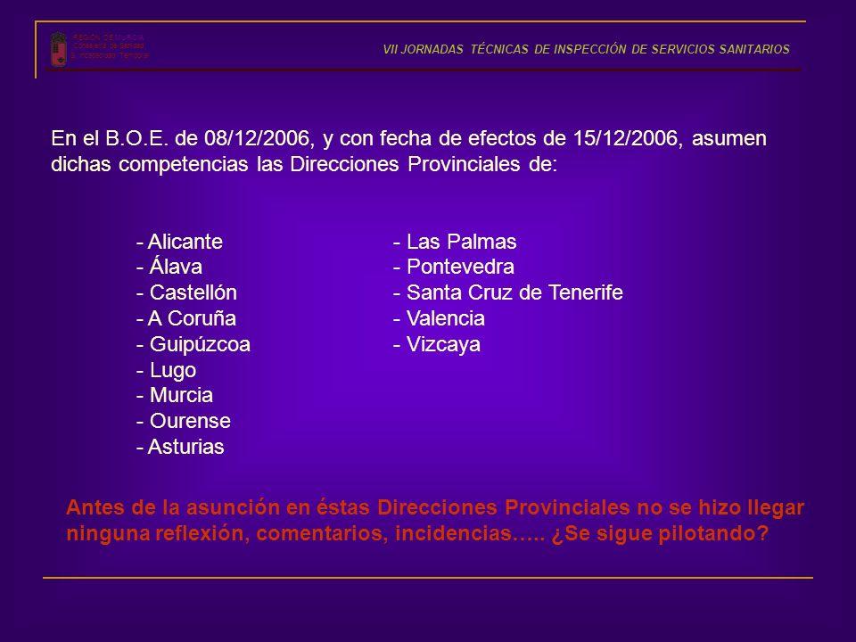 REGIÓN DE MURCIA Consejería de Sanidad S. Incapacidad Temporal VII JORNADAS TÉCNICAS DE INSPECCIÓN DE SERVICIOS SANITARIOS En el B.O.E. de 08/12/2006,
