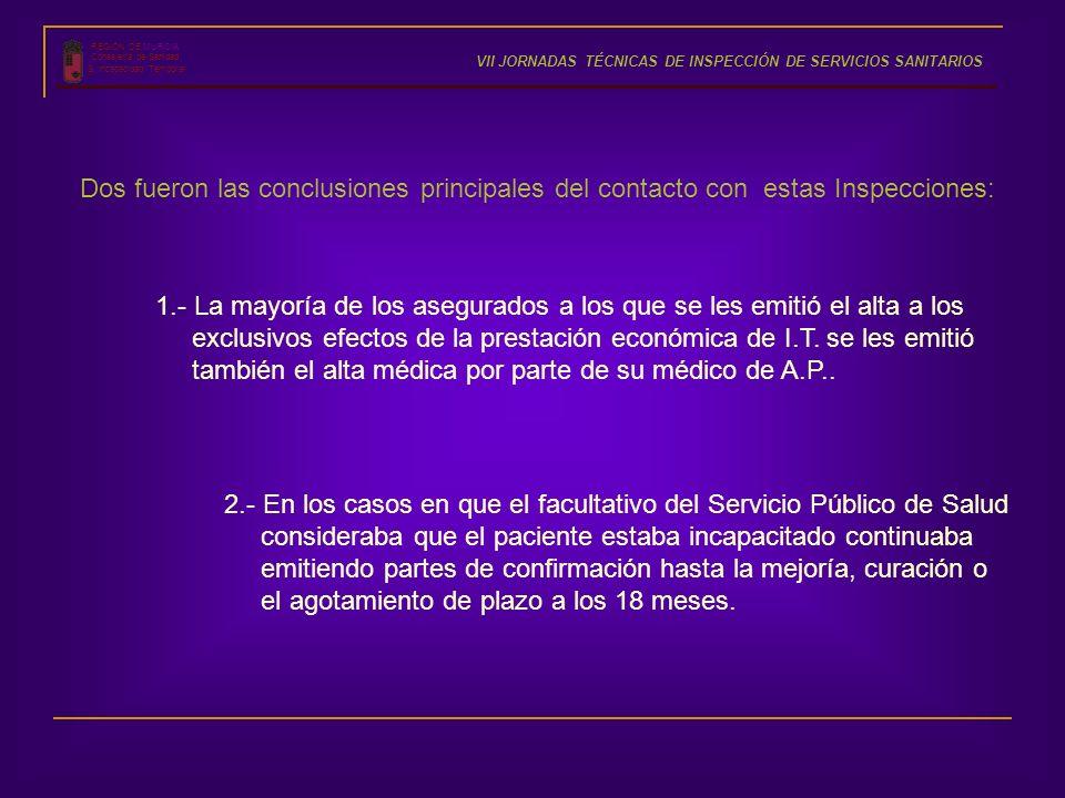 REGIÓN DE MURCIA Consejería de Sanidad S. Incapacidad Temporal VII JORNADAS TÉCNICAS DE INSPECCIÓN DE SERVICIOS SANITARIOS Dos fueron las conclusiones