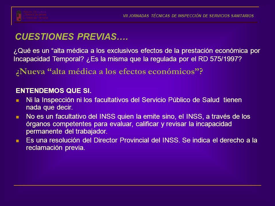 REGIÓN DE MURCIA Consejería de Sanidad S. Incapacidad Temporal VII JORNADAS TÉCNICAS DE INSPECCIÓN DE SERVICIOS SANITARIOS CUESTIONES PREVIAS…. ¿Qué e