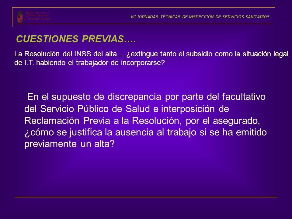 REGIÓN DE MURCIA Consejería de Sanidad S. Incapacidad Temporal VII JORNADAS TÉCNICAS DE INSPECCIÓN DE SERVICIOS SANITARIOS CUESTIONES PREVIAS…. En el