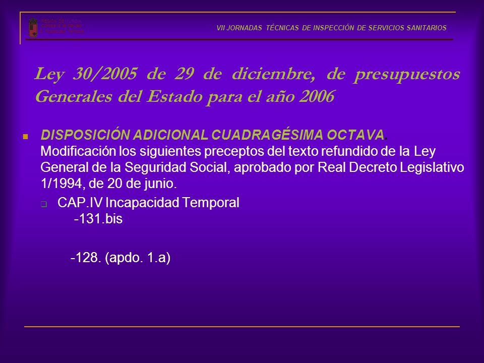 REGIÓN DE MURCIA Consejería de Sanidad S. Incapacidad Temporal VII JORNADAS TÉCNICAS DE INSPECCIÓN DE SERVICIOS SANITARIOS Ley 30/2005 de 29 de diciem