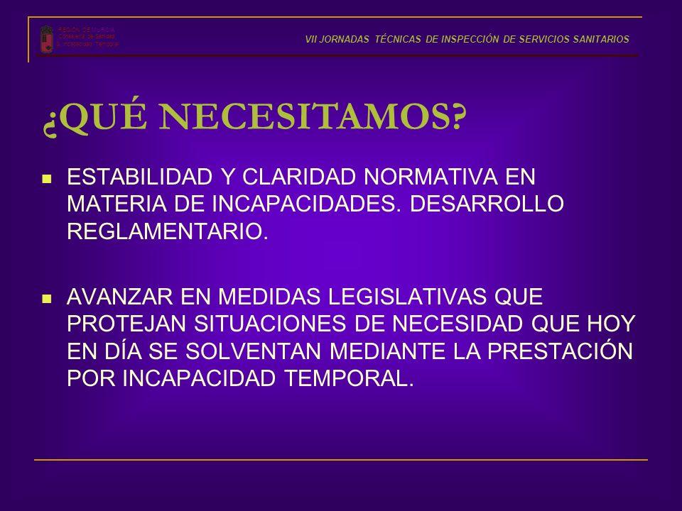 ESTABILIDAD Y CLARIDAD NORMATIVA EN MATERIA DE INCAPACIDADES. DESARROLLO REGLAMENTARIO. AVANZAR EN MEDIDAS LEGISLATIVAS QUE PROTEJAN SITUACIONES DE NE