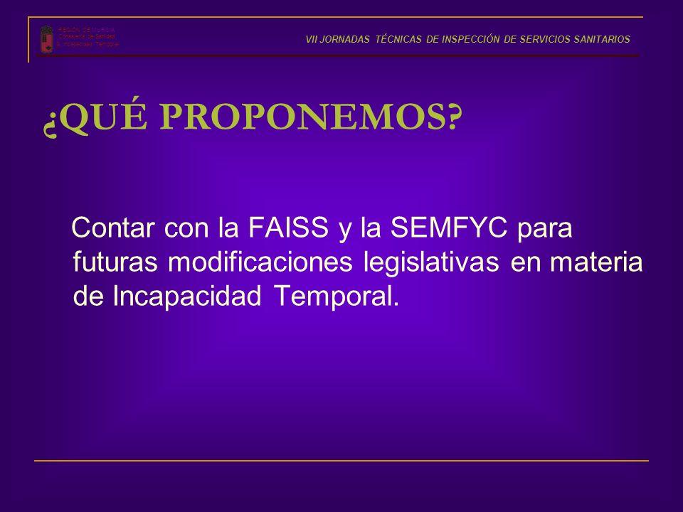 Contar con la FAISS y la SEMFYC para futuras modificaciones legislativas en materia de Incapacidad Temporal. REGIÓN DE MURCIA Consejería de Sanidad S.