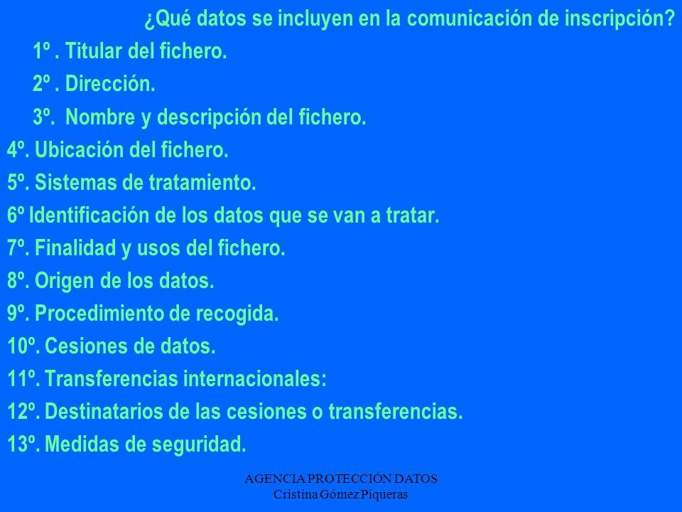AGENCIA PROTECCIÓN DATOS Cristina Gómez Piqueras ¿Qué datos se incluyen en la comunicación de inscripción? 1º. Titular del fichero. 2º. Dirección. 3º.