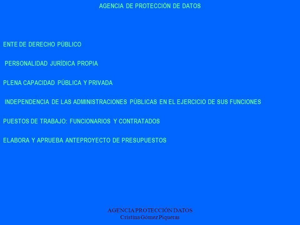 AGENCIA PROTECCIÓN DATOS Cristina Gómez Piqueras AGENCIA DE PROTECCIÓN DE DATOS ENTE DE DERECHO PÚBLICO PERSONALIDAD JURÍDICA PROPIA PLENA CAPACIDAD P